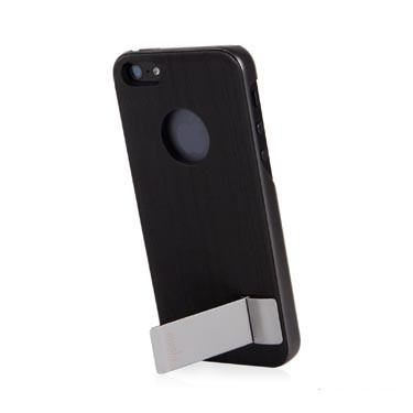iGlaze Kameleon Coque rigide design avec pied pour iPhone 5 5S SE noir